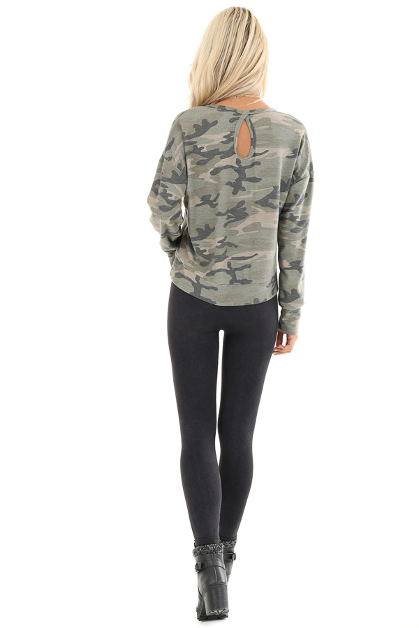 Olive Camo Print Long Sleeve Top with Back Cutout Detail back full body