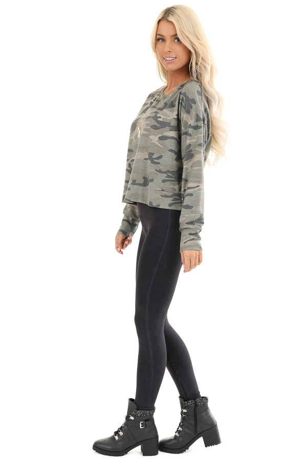 Olive Camo Print Long Sleeve Top with Back Cutout Detail side full body