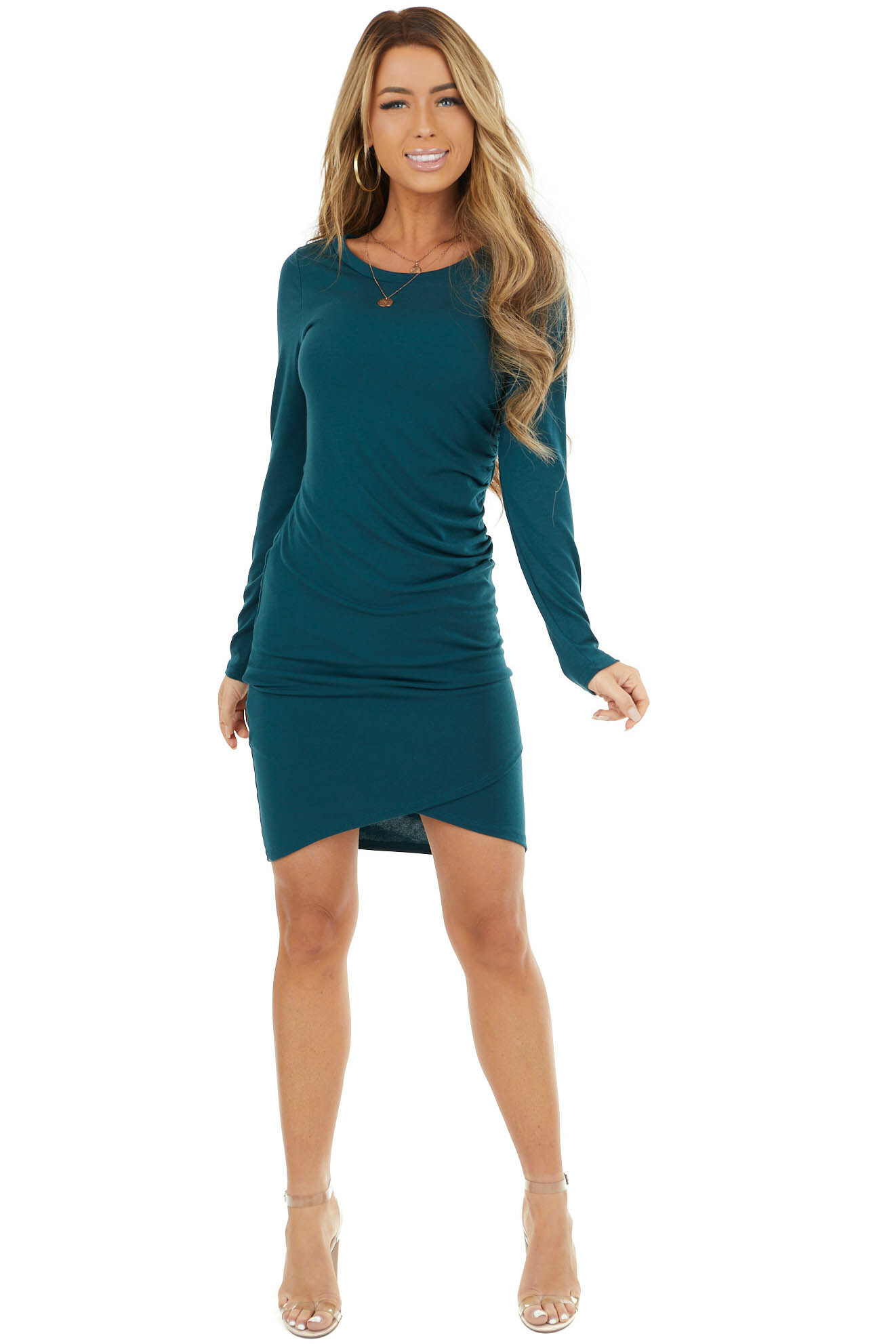 Hunter Green Long Sleeve Mini Dress with Side Ruching