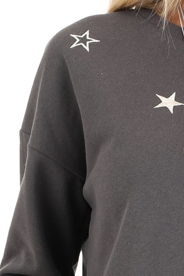 Charcoal and Ivory Star Embroidered Pullover Sweatshirt detail