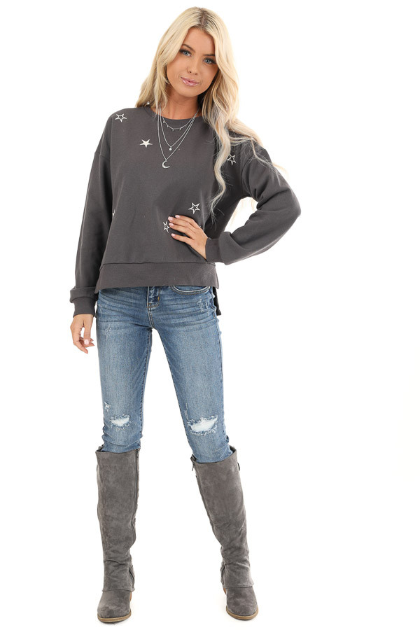 Charcoal and Ivory Star Embroidered Pullover Sweatshirt front full body