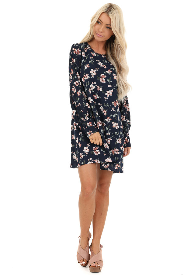 Navy and Blush Floral Print Mini Dress with Long Sleeves front full body