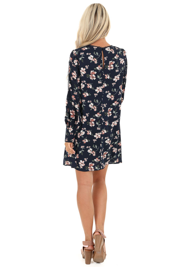 Navy and Blush Floral Print Mini Dress with Long Sleeves back full body
