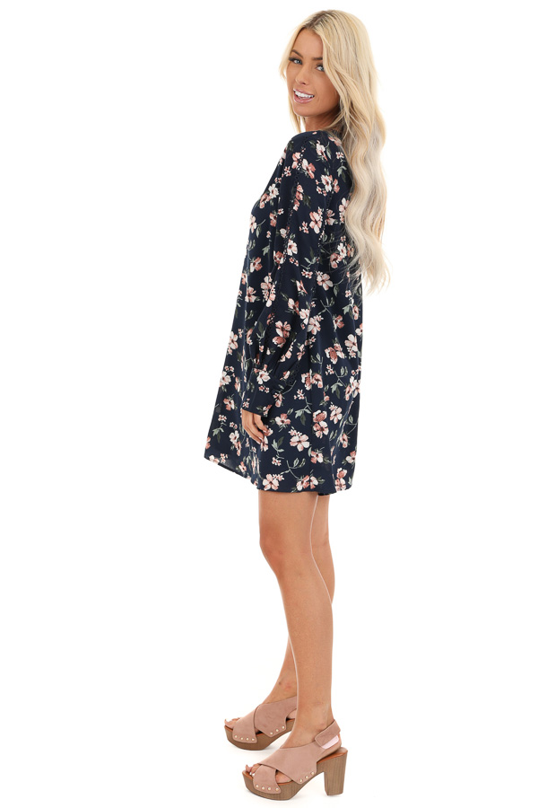 Navy and Blush Floral Print Mini Dress with Long Sleeves side full body