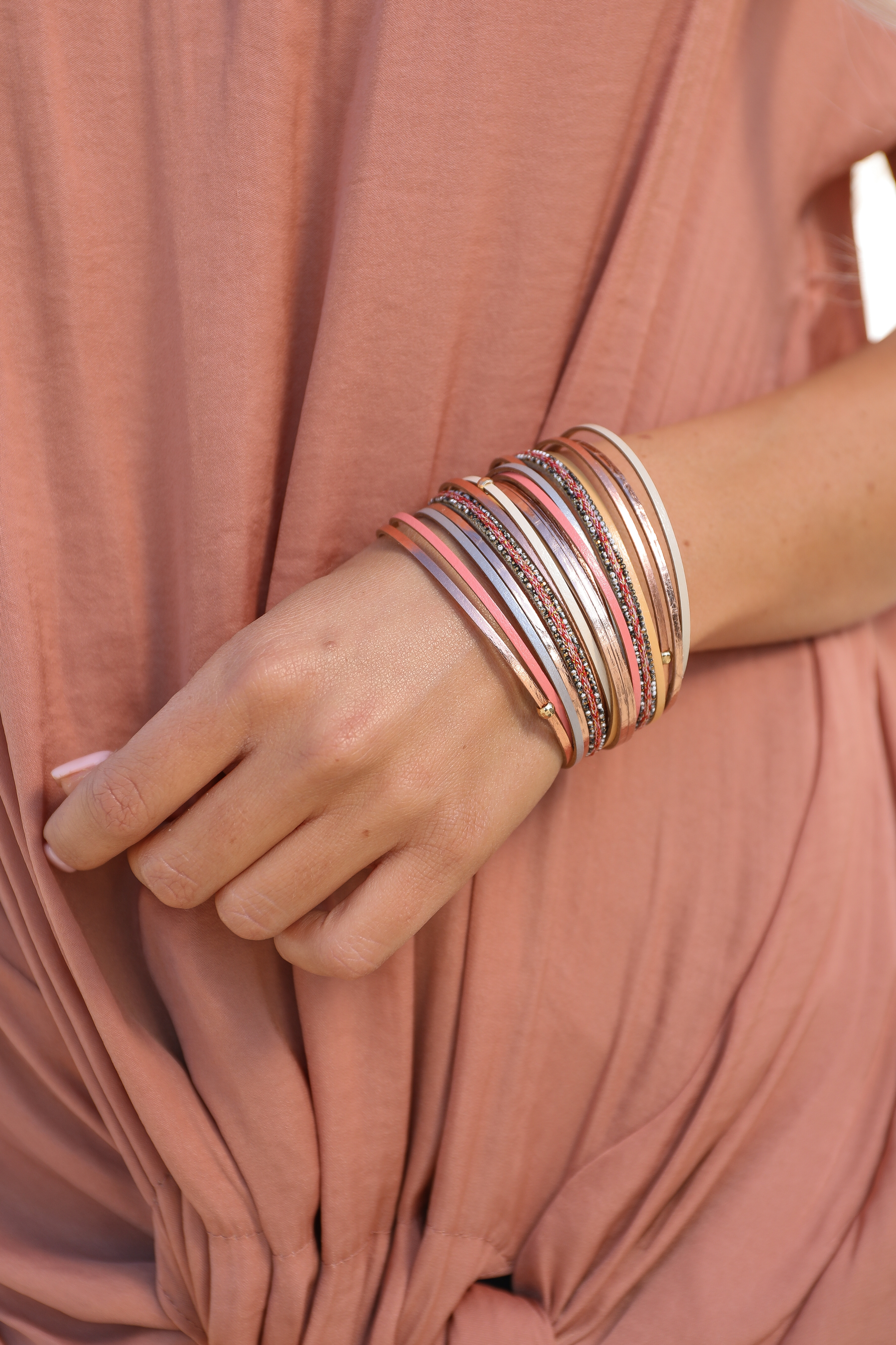 Gold Multicolor Layered Magnetic Bracelet with Bead Details