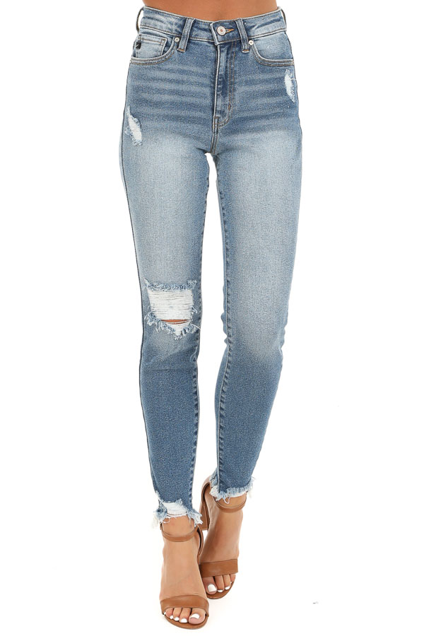 Medium Wash High Waisted Skinny Jeans with Distressing front view