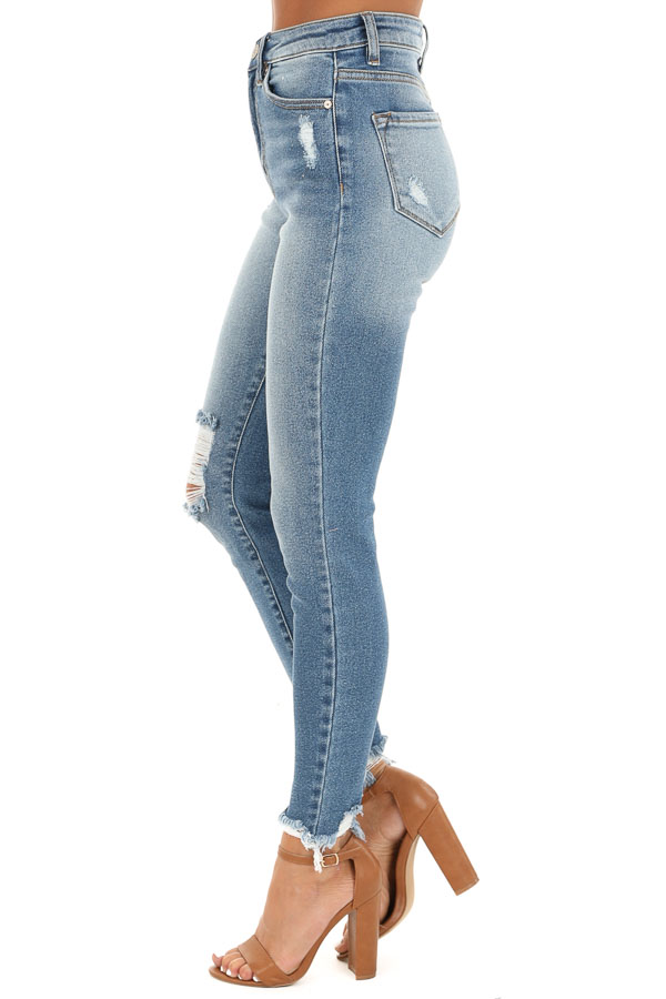 Medium Wash High Waisted Skinny Jeans with Distressing side view