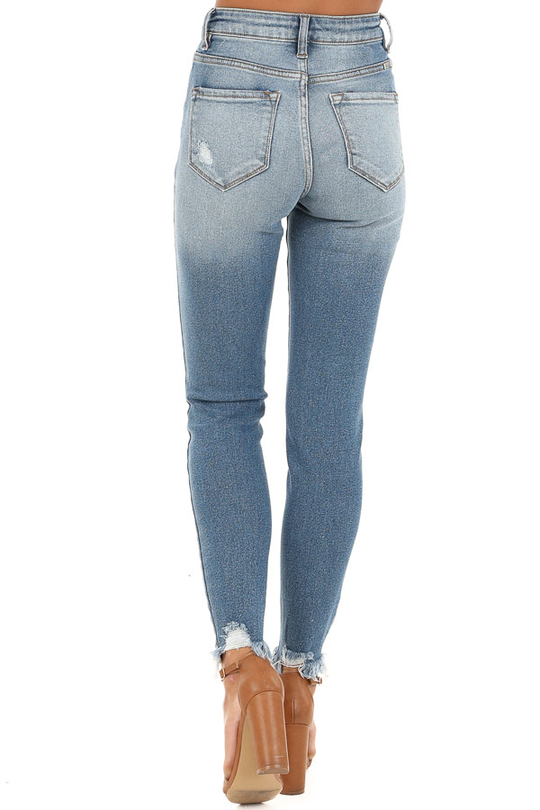 Medium Wash High Waisted Skinny Jeans with Distressing back view