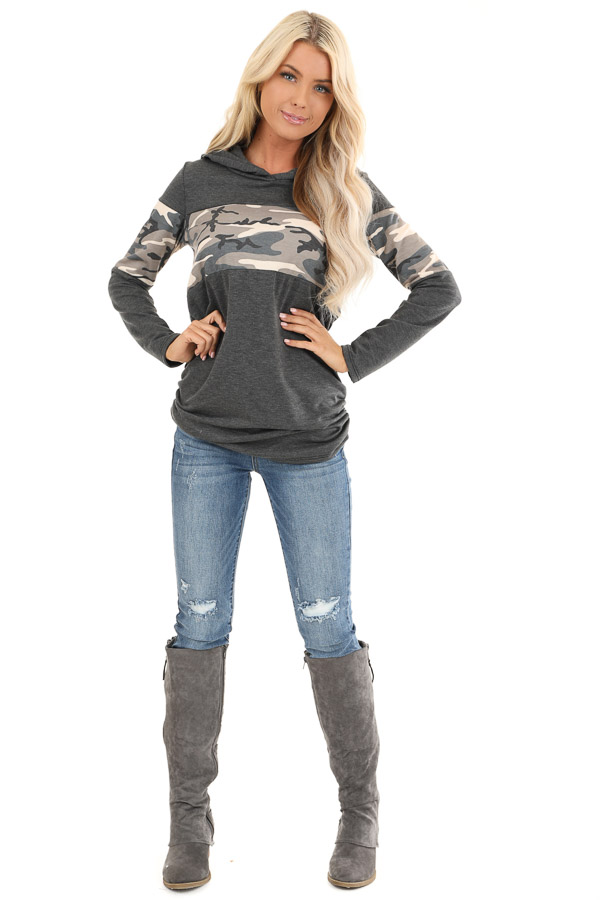 Charcoal and Camo Color Block Knit Lightweight Hoodie front full body