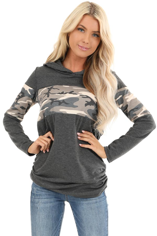 Charcoal and Camo Color Block Knit Lightweight Hoodie front close up
