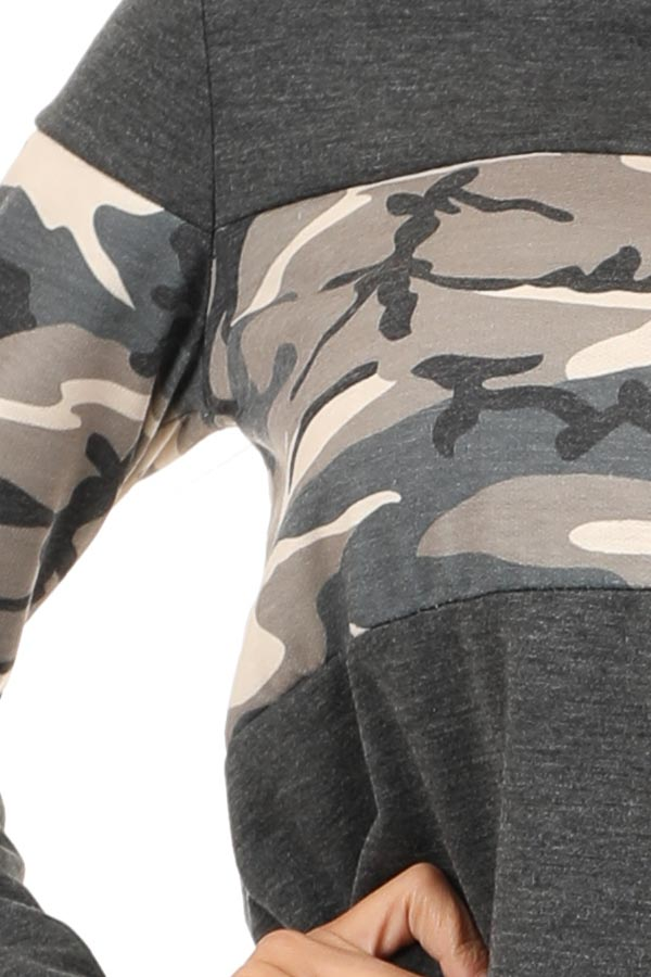 Charcoal and Camo Color Block Knit Lightweight Hoodie detail