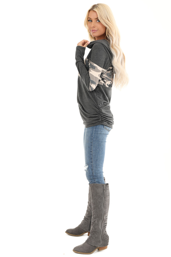 Charcoal and Camo Color Block Knit Lightweight Hoodie side full body