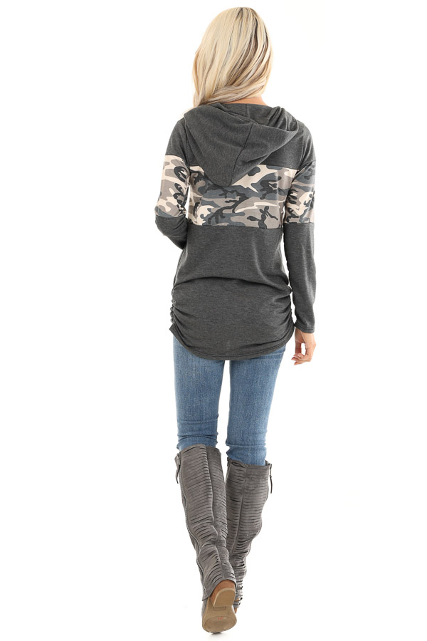 Charcoal and Camo Color Block Knit Lightweight Hoodie back full body