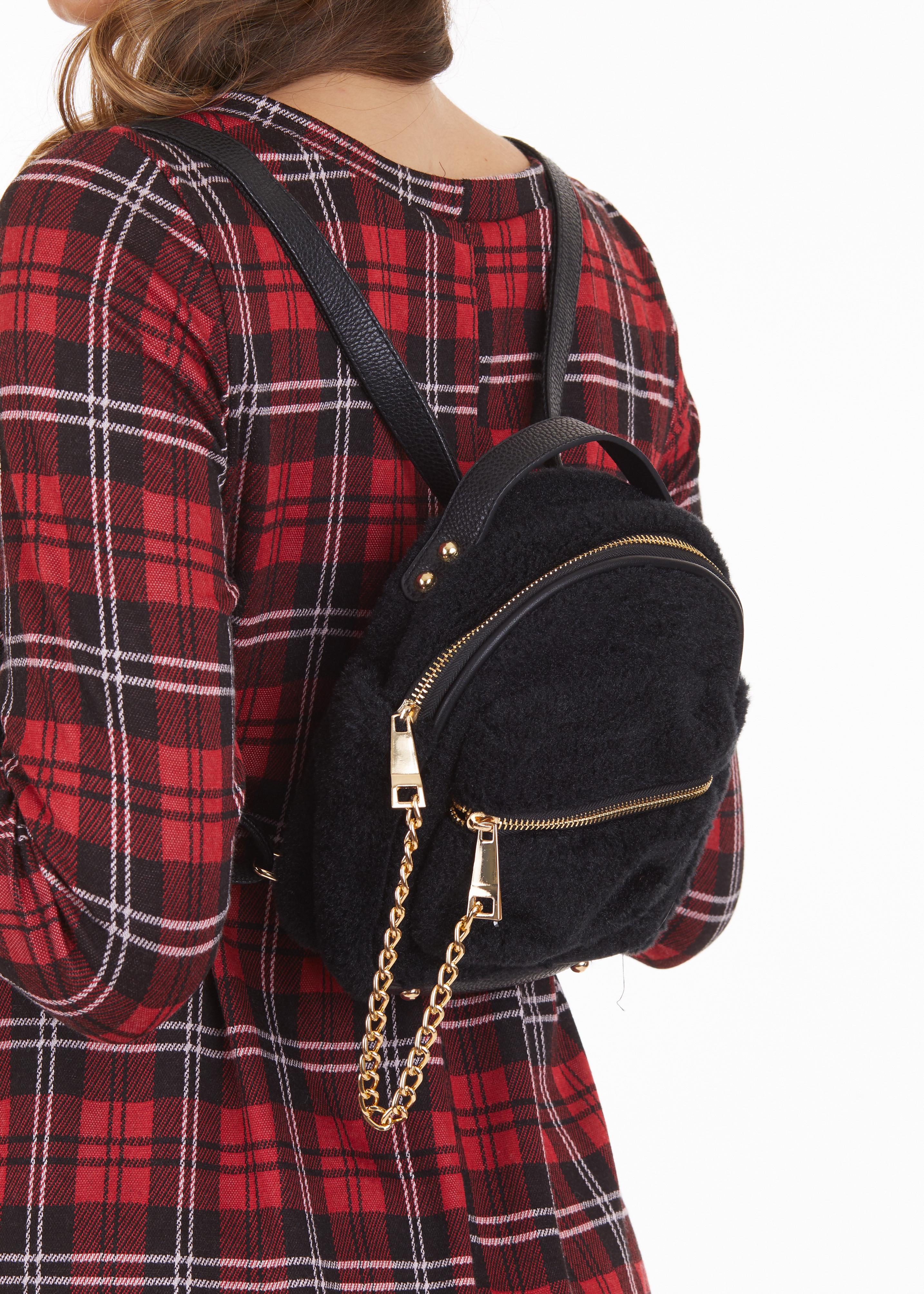 Black Fuzzy Mini Backpack with Gold Chain Detail