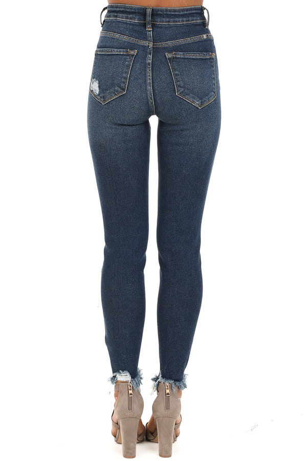 Dark Wash High Waisted Skinny Jeans with Distressing back view