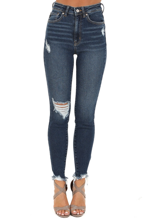 Dark Wash High Waisted Skinny Jeans with Distressing front view