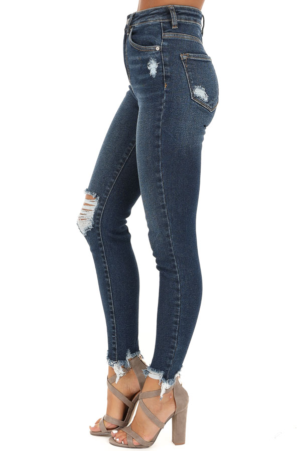Dark Wash High Waisted Skinny Jeans with Distressing side view