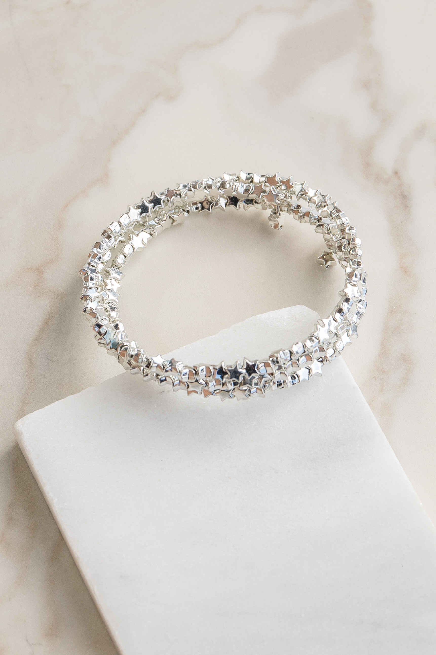 Silver Little Star Coil Bracelet