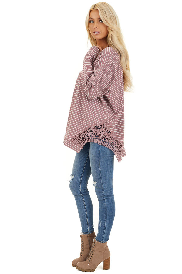 Mauve Striped Long Sleeve Knit Top with Crocheted Details side full body
