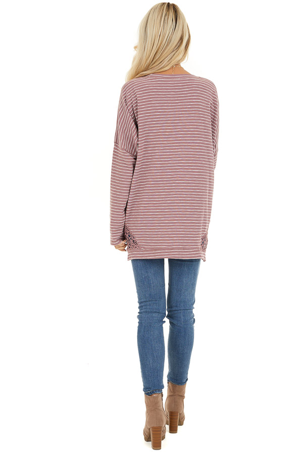 Mauve Striped Long Sleeve Knit Top with Crocheted Details back full body