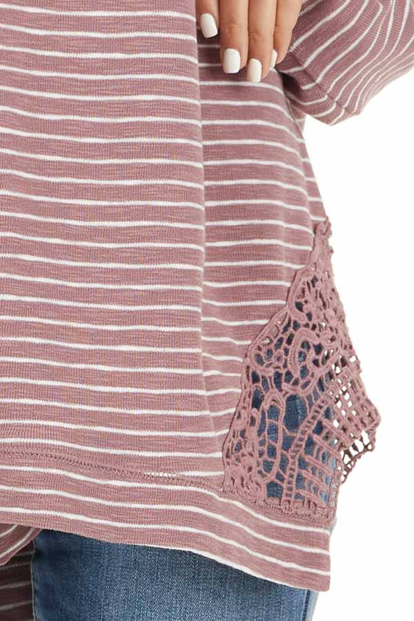 Mauve Striped Long Sleeve Knit Top with Crocheted Details detail