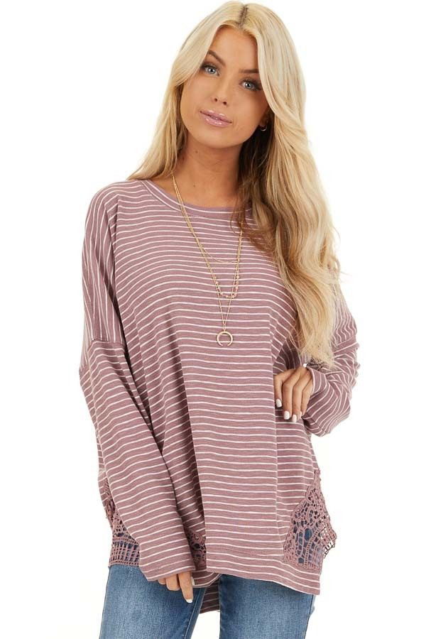 Mauve Striped Long Sleeve Knit Top with Crocheted Details front close up