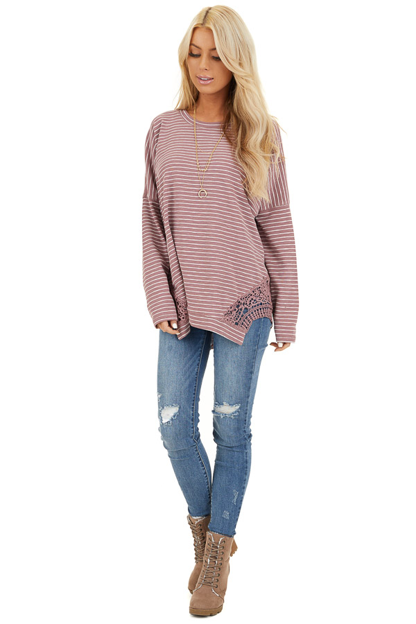 Mauve Striped Long Sleeve Knit Top with Crocheted Details front full body
