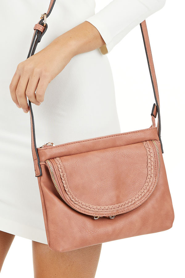 Faded Coral Faux Leather Cross Body Bag with Braided Details