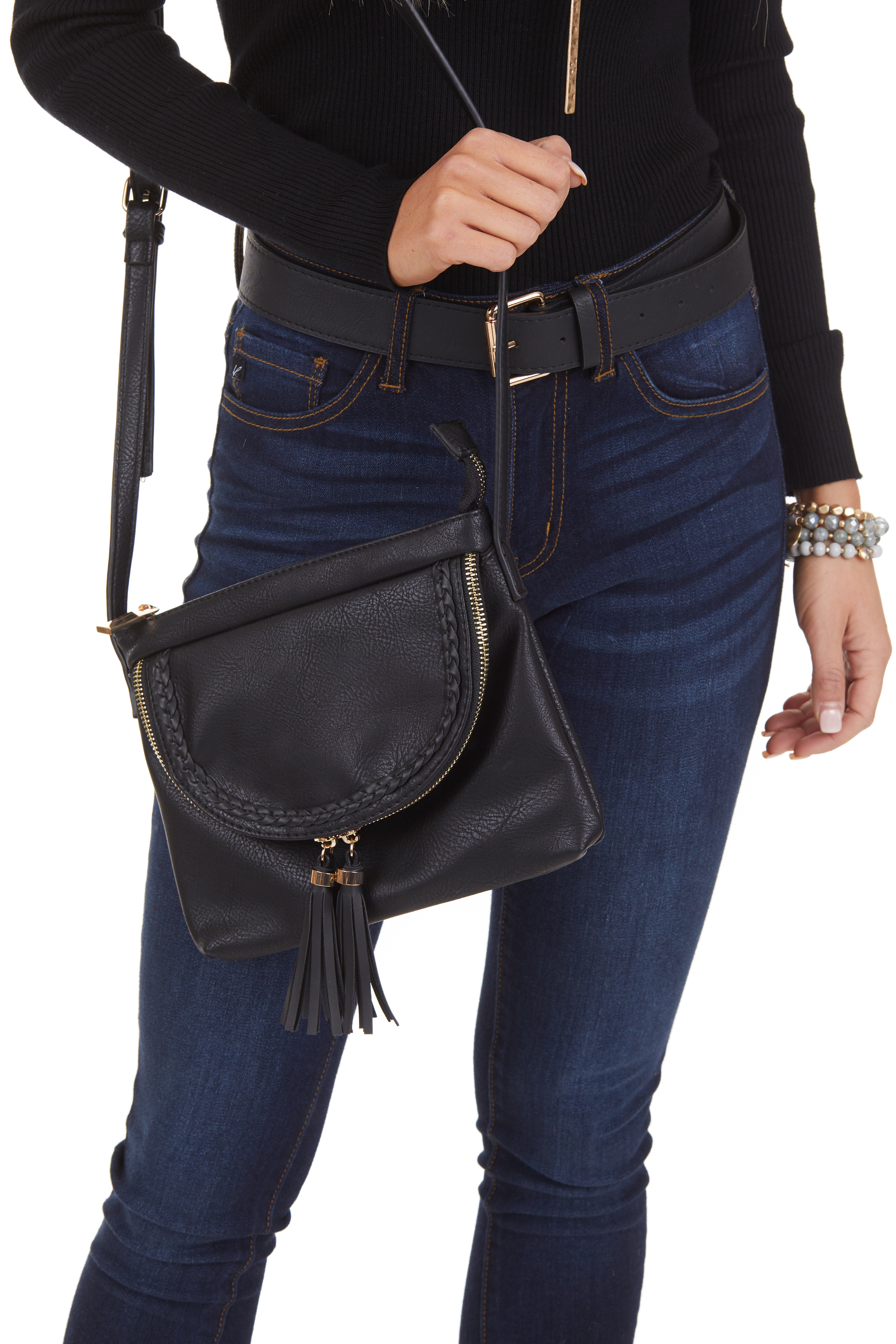 Black Faux Leather Cross Body Bag with Braided Details
