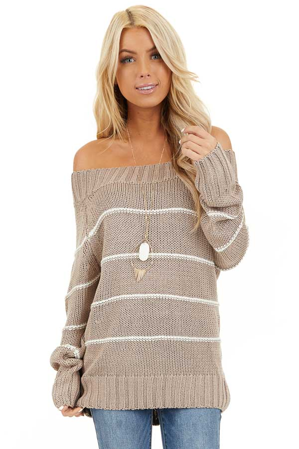 Mocha and Ivory Striped Cable Knit Off the Shoulder Sweater front close up
