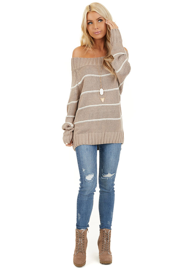Mocha and Ivory Striped Cable Knit Off the Shoulder Sweater front full body