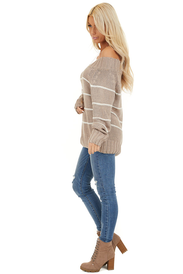 Mocha and Ivory Striped Cable Knit Off the Shoulder Sweater side full body
