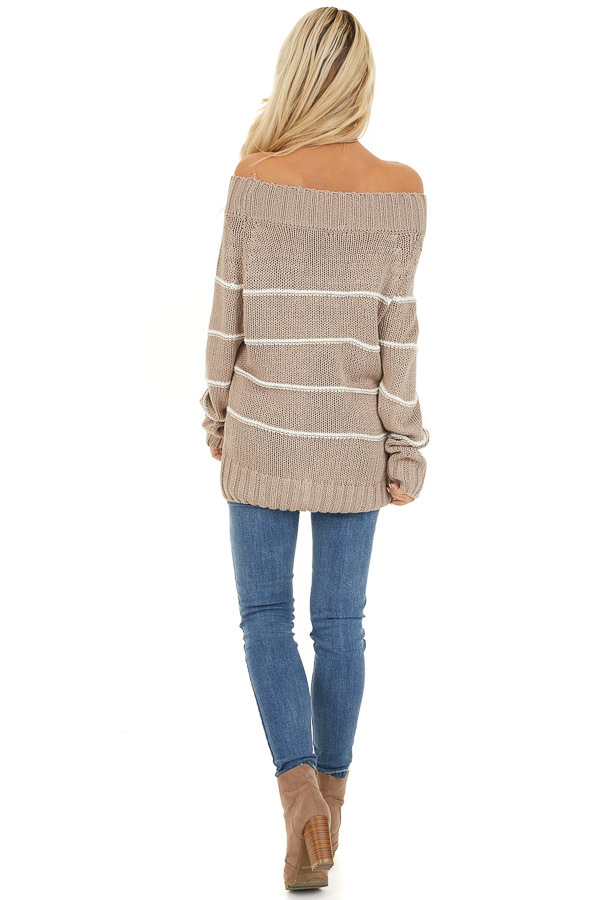 Mocha and Ivory Striped Cable Knit Off the Shoulder Sweater back full body