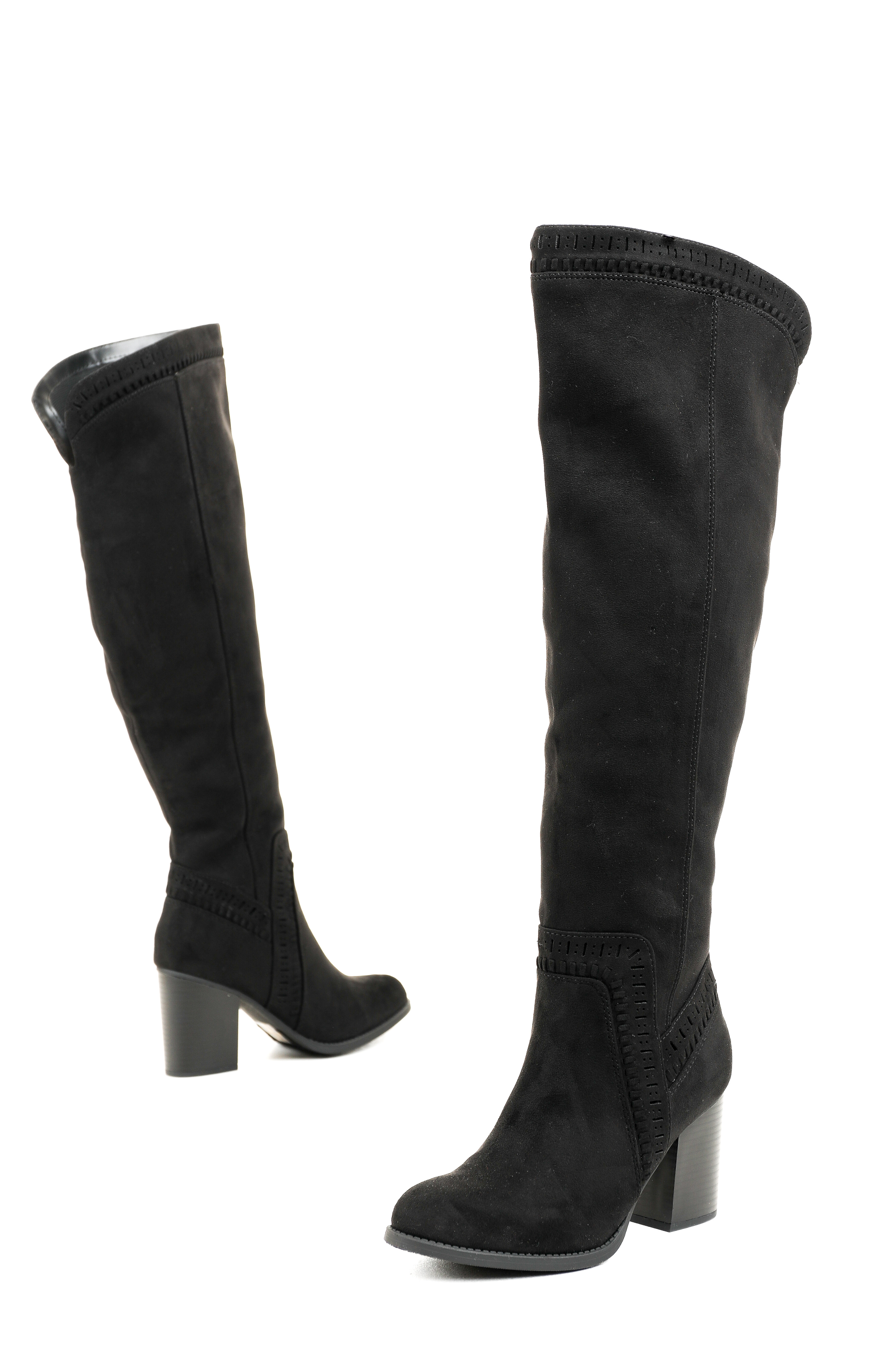 Black Faux Suede Western Style Knee High Heeled Boots