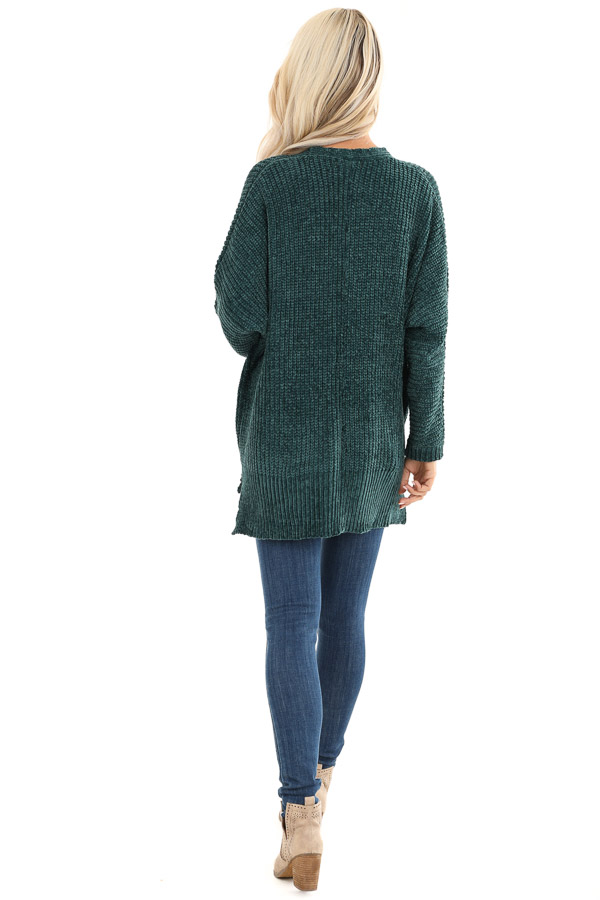 Hunter Green Long Sleeve Chenille Cardigan with Open Front back full body