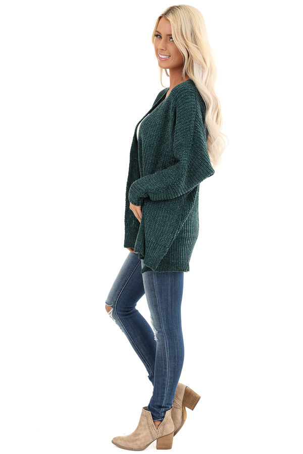 Hunter Green Long Sleeve Chenille Cardigan with Open Front side full body
