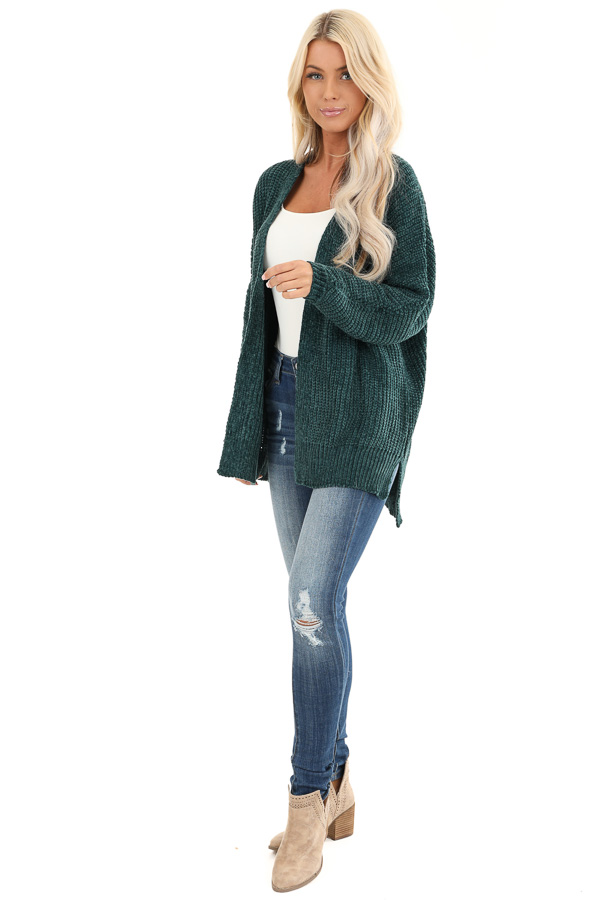 Hunter Green Long Sleeve Chenille Cardigan with Open Front front full body