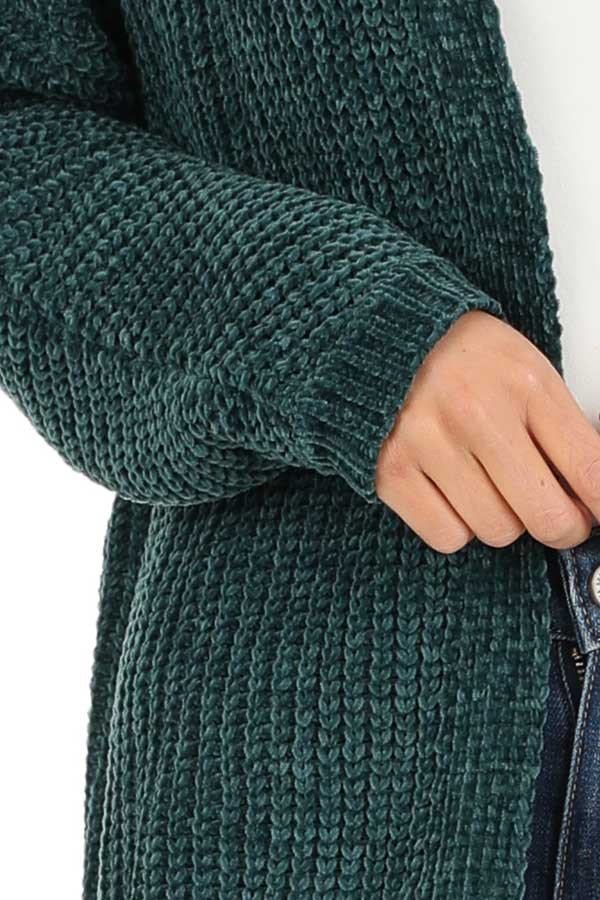 Hunter Green Long Sleeve Chenille Cardigan with Open Front detail