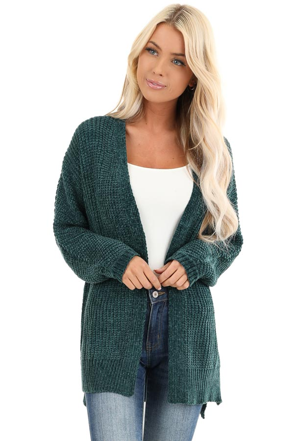 Hunter Green Long Sleeve Chenille Cardigan with Open Front front close up