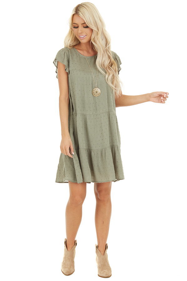 Sage Ruffle Mini Dress with Pockets and Swiss Dot Detail front full body