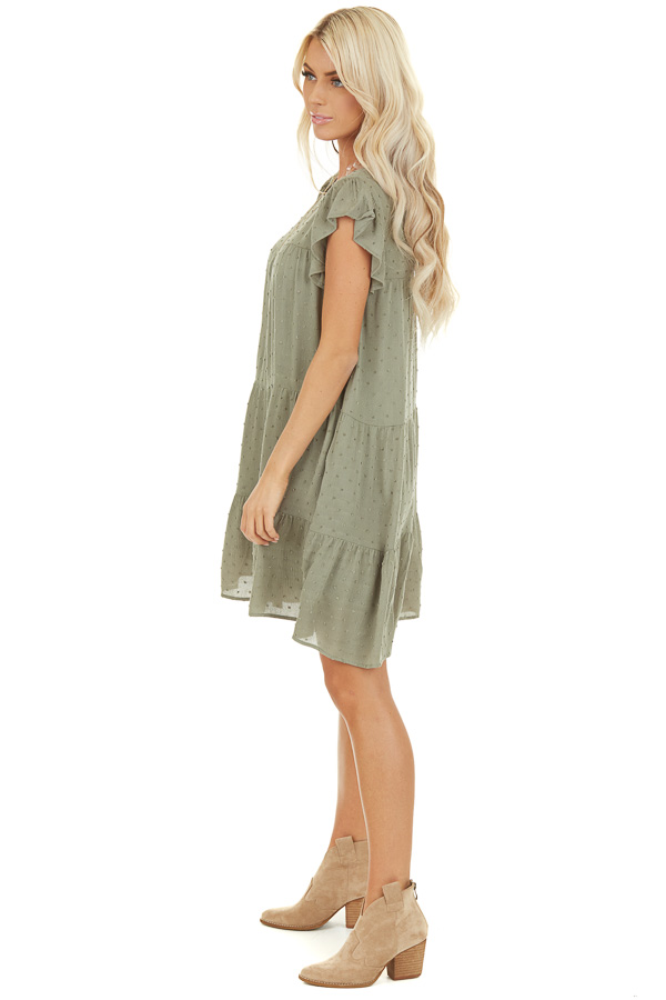 Sage Ruffle Mini Dress with Pockets and Swiss Dot Detail side full body