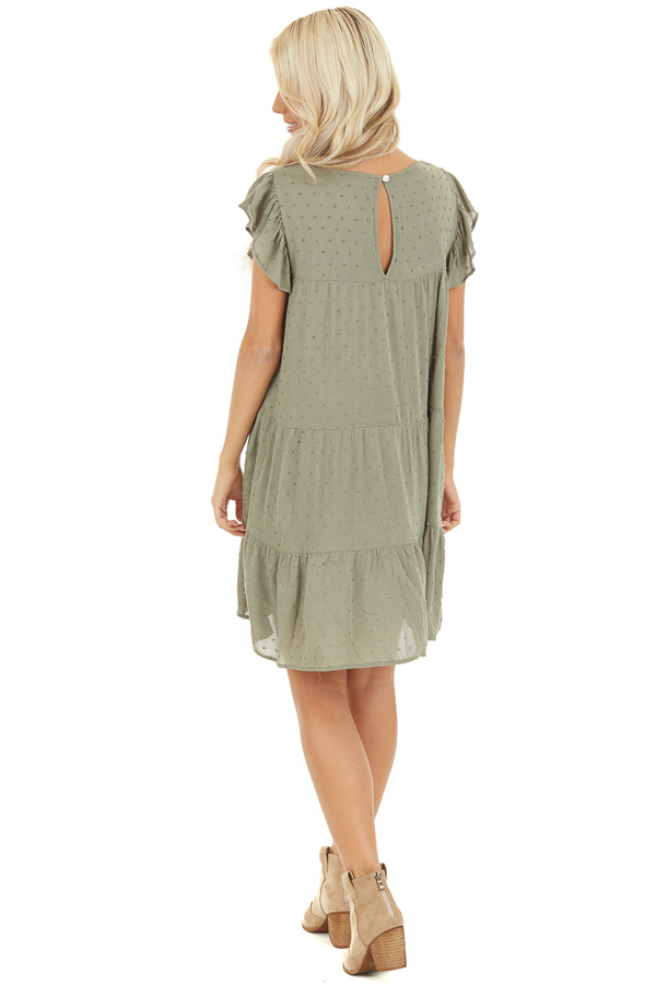 Sage Ruffle Mini Dress with Pockets and Swiss Dot Detail back full body