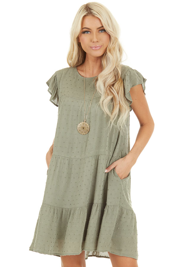 Sage Ruffle Mini Dress with Pockets and Swiss Dot Detail