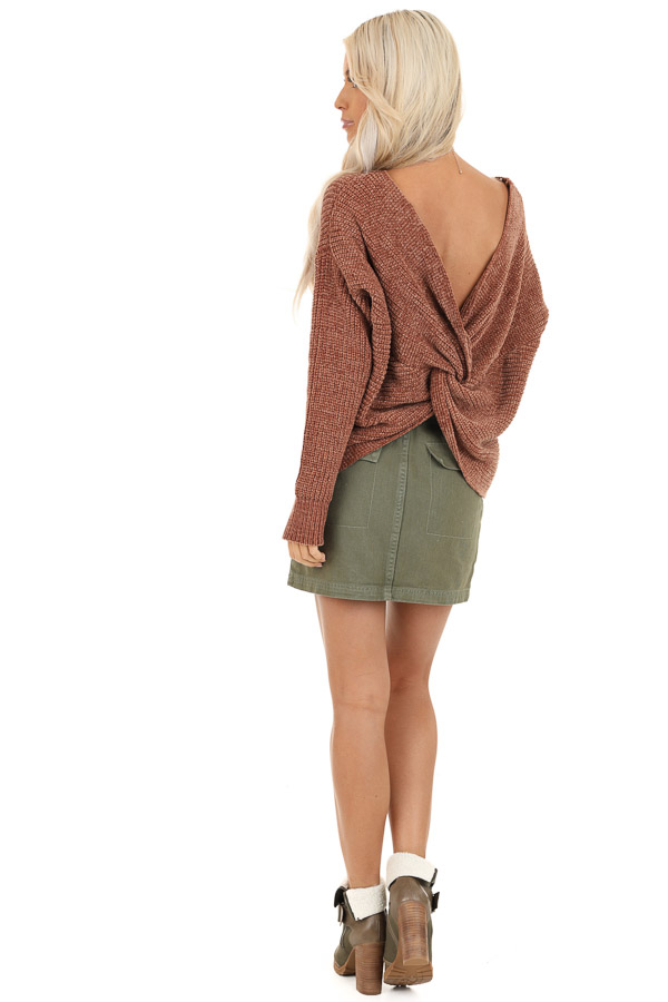 Toffee Chenille Long Sleeve Sweater with Twisted Back Detail back full body