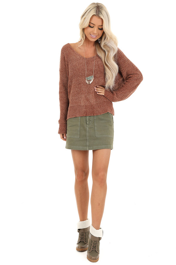 Toffee Chenille Long Sleeve Sweater with Twisted Back Detail front full body