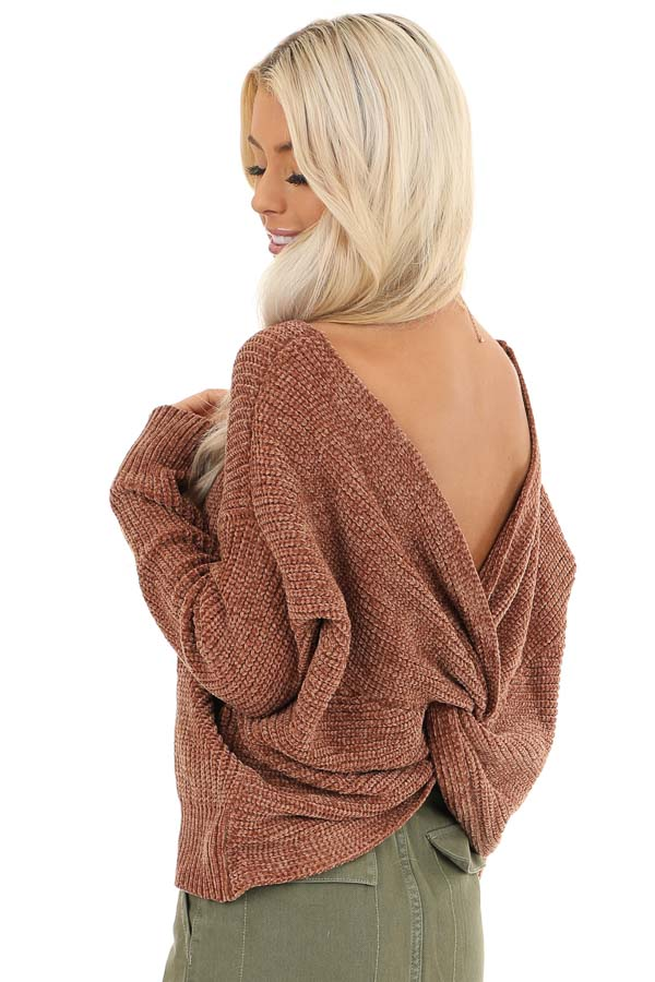 Toffee Chenille Long Sleeve Sweater with Twisted Back Detail back close up