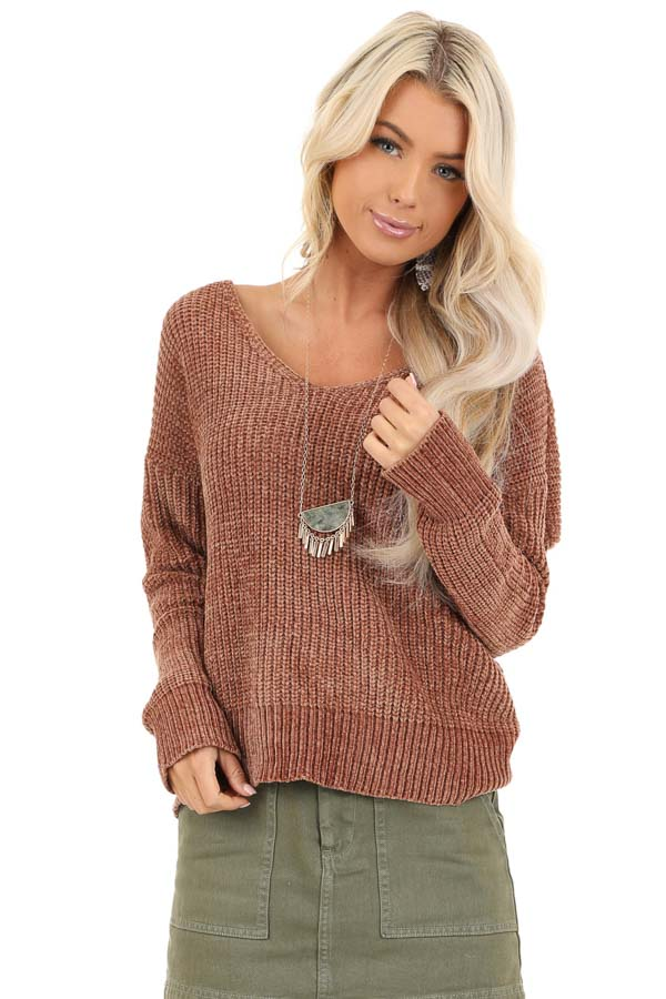 Toffee Chenille Long Sleeve Sweater with Twisted Back Detail front close up