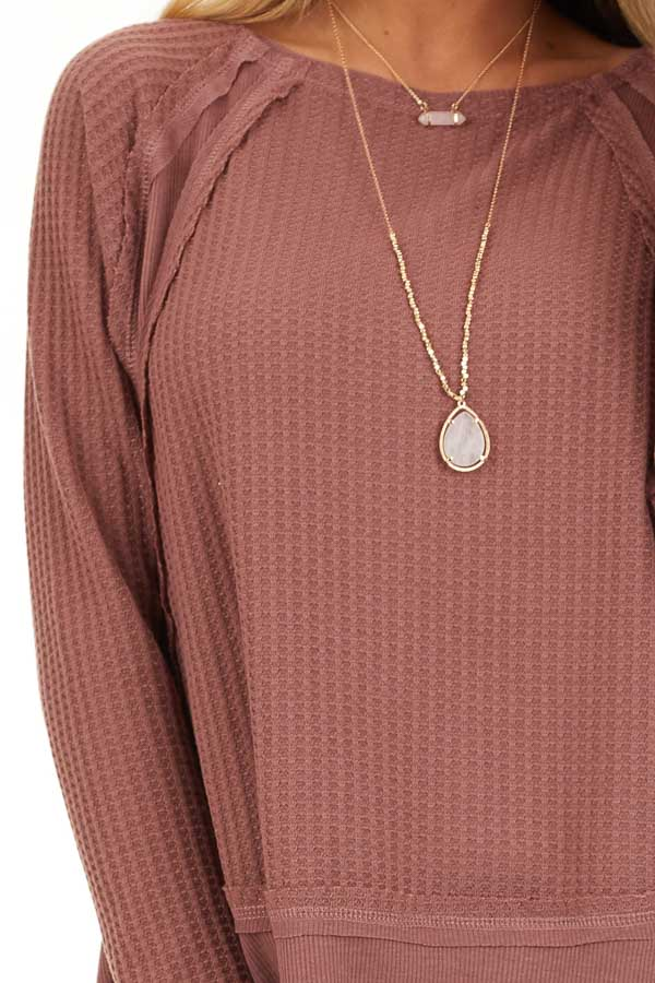 Marsala Long Sleeve Round Neck Top with Ribbed Contrast detail