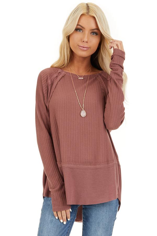 Marsala Long Sleeve Round Neck Top with Ribbed Contrast front close up