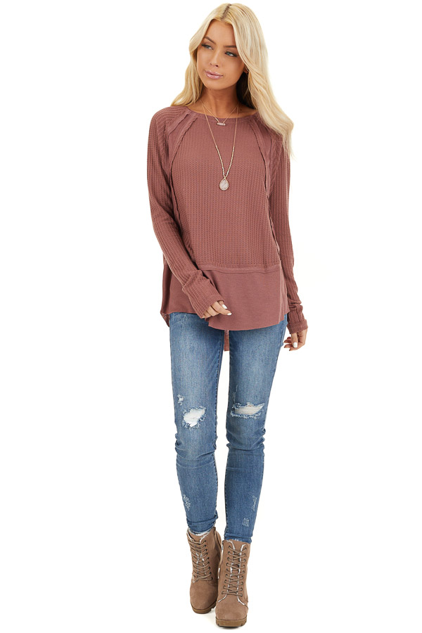 Marsala Long Sleeve Round Neck Top with Ribbed Contrast front full body